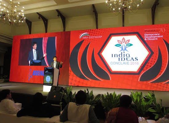 Sikyong Dr Lobsang Sangay addressing the 3rd India Ideas Conclave at Goa, organised by India Foundation,