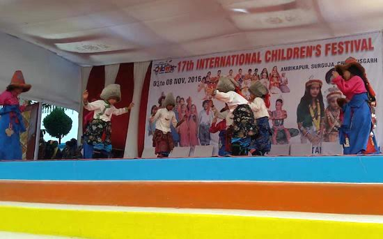 Students of STSS Mainpat School performing a Tibetan cultural dance at the International Children's Festival held at Ambikapur, Chhattisgarh from 8 -