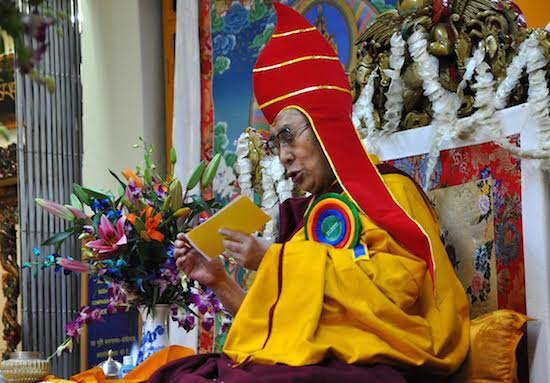 His Holiness the Dalai Lama during the long life prayer offering organised by the Phenpo and Pemakoe Tibetan community members at Tsuglagkhang, 2 November 2016.
