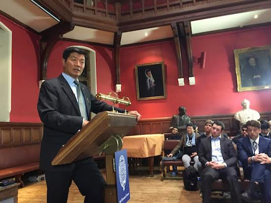 Sikyong Dr Lobsang Sangay speaking at the Oxford Union, 31 October 2016.