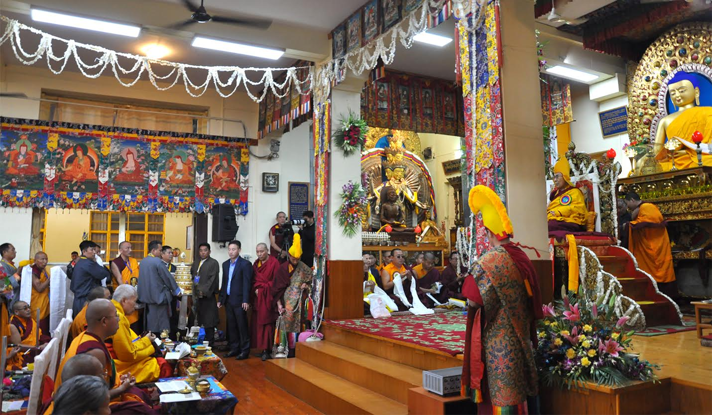 A procession of offerings during the Long Life Offering ceremony for His Holiness the Dalai Lama at the Main Tibetan Temple Tsuglagkhang on 2 November 2016.