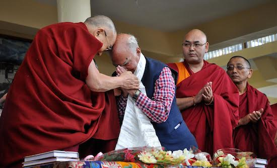 His Holiness the Dalai Lama and Shri Shanta Kumar exchanging greetings at the book release.