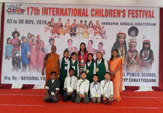 Students of STSS Mainpat School representing Tibet at the 17th annual International Children's Festival at Ambikapur, Chhattisgarh from 3 - 8 November 2016.