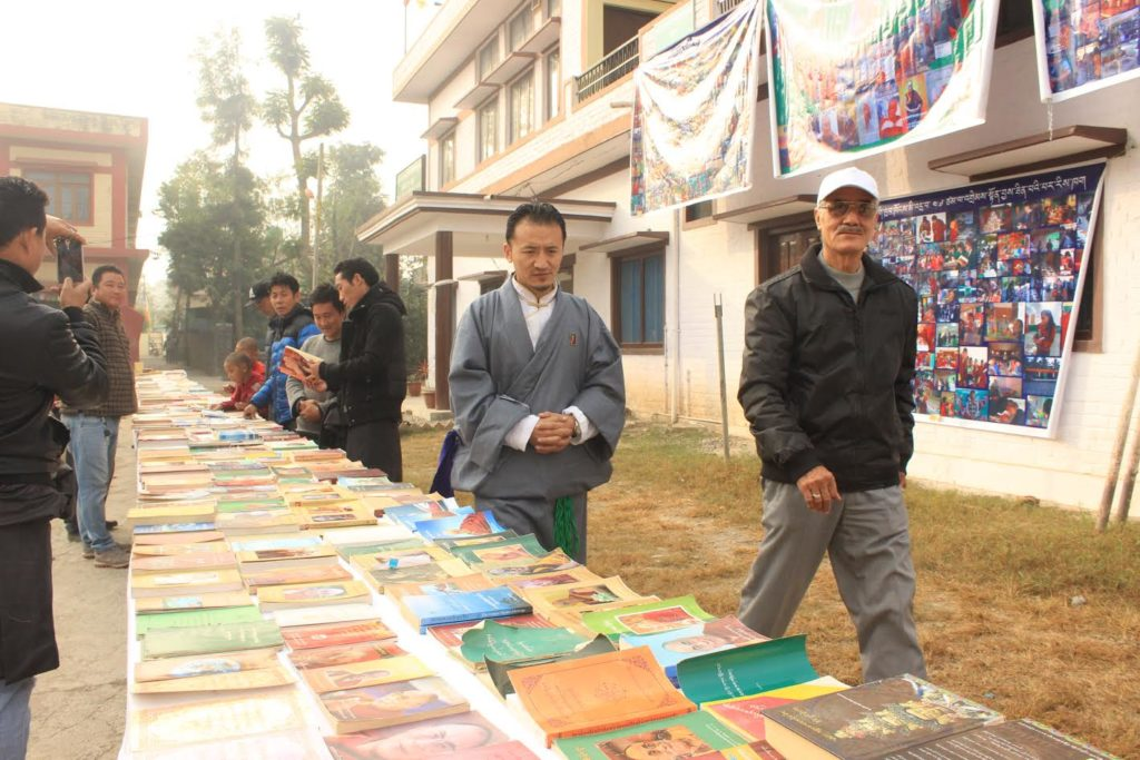 Settlement Officer Gelek Jamyang at His Holiness The 14th Dalai Lama books exhibition by Gompo Gyal.