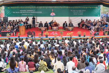 Principal Dr B Tsering speaking at the Inaugural Cceremony of the Dalai Lama Institute for Higher Education in Bengaluru, Karnataka, India on December 14, 2016. Photo/Tenzin Choejor/OHHDL