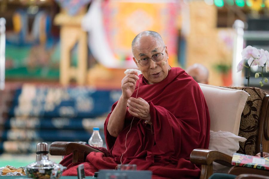 His Holiness the Dalai Lama delivering his closing remarks at the end of the Tibet Emory Symposium at Drepung Loseling in Mundgod, Karnataka, India on December 20, 2016. Photo/Tenzin Choejor/OHHDL