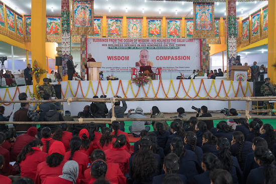 A view of the stage at the Kalachakra teaching ground during His Holiness the Dalai Lama's talk to 2000 Bihari students in Bodhgaya, Bihar, India on December 31, 2016. Photo/Tenzin Choejor/OHHDL