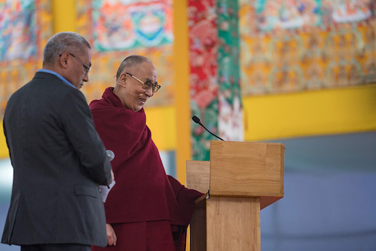 His Holiness the Dalai Lama speaking on wisdom and compassion to 2000 students at the Kalachakra teaching ground in Bodhgaya, Bihar, India on December 31, 2016. Photo/Tenzin Choejor/OHHDL