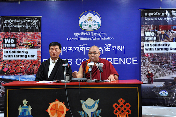 Sikyong Dr Lobsang Sangay and Speaker Khenpo Sonam Tenphel of Tibetan Parliament-in-Exile addressing the press conference today at DIIR Lhakpa Tsering hall, 5 December 2016.