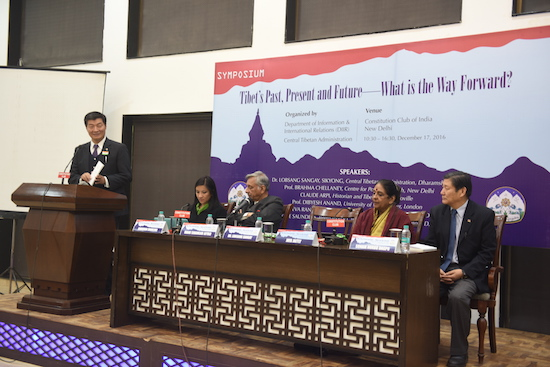 Sikyong Dr Lobsang Sangay speaking at the release of the report with other dignitaries, New Delhi.