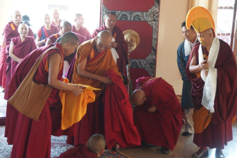 His Eminence Rizong Rinpoche, at the Geshema vow taking ceremony at Jangchup Choeling nunnery.