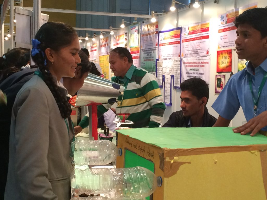 Students from Indian schools participating in the exhibition.