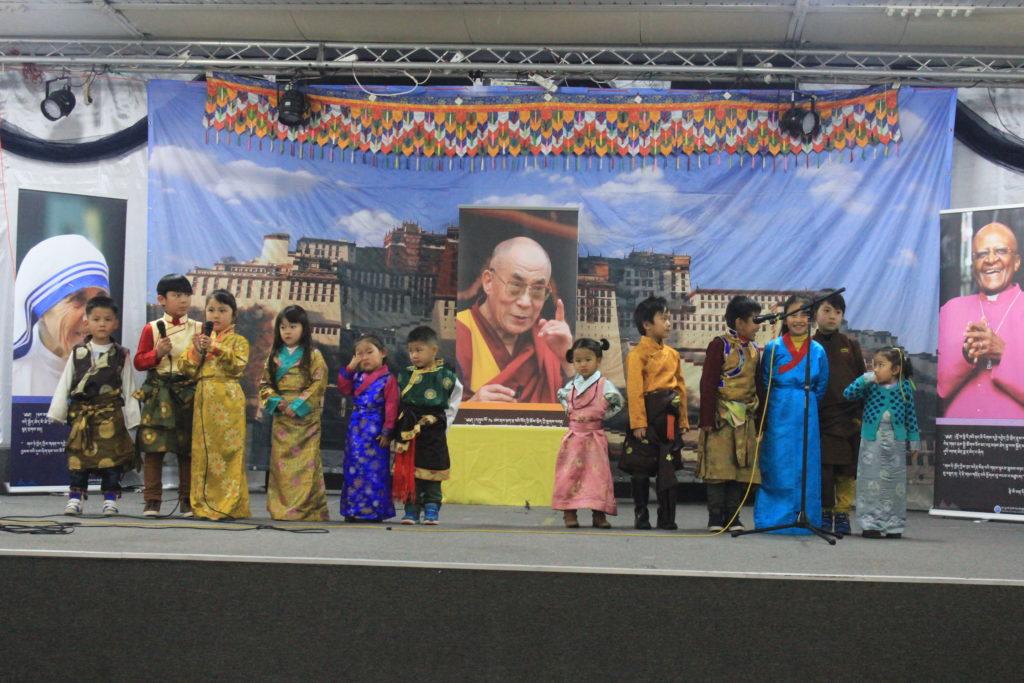 Tibetan children at the talent show in Brussels, Belgium.