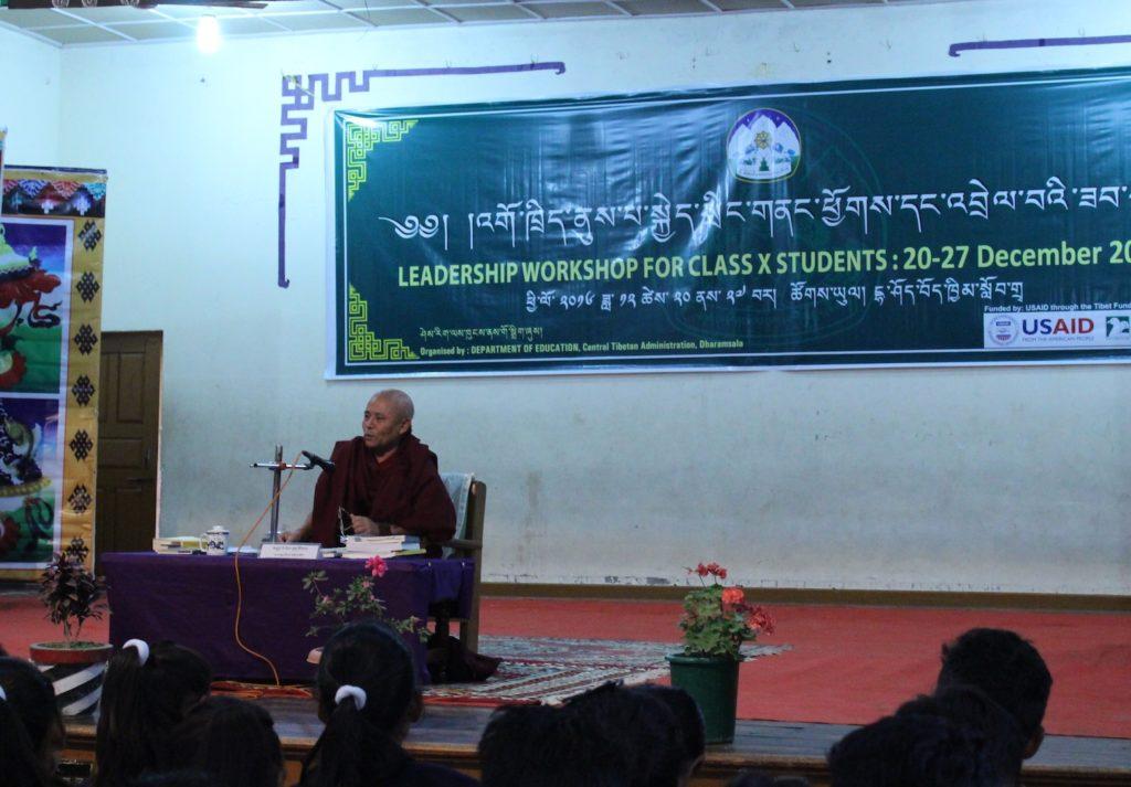 Deputy Sepaker AChraya Yeshi Phuntsok of the Tibetan Parliament addressing the students at Lower Tibetan Children;s Village school in Dharamshala on 20 December 2016.