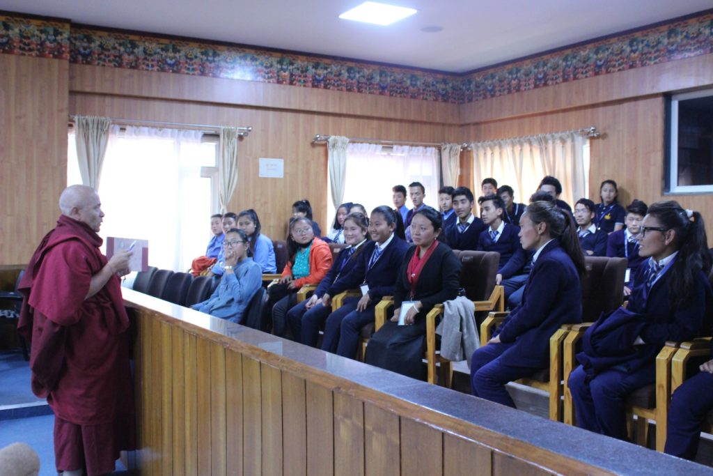Deputy Speaker interacting with the students at the Tibetan parliamentary secretariat on 21 December 2016.