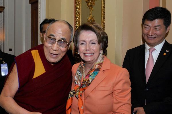 His Holiness the Dalai Lama and Sikyong Dr lobsang Sangay with Ms Nancy Pelosi in 2015.