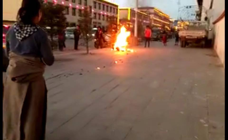 Video grab of self-immolation protest