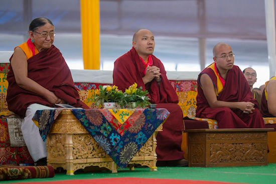 Sakya Trizin, Gyalwang Karmapa and Taklung Shabdrung during the Long Life Offering Ceremony for His Holiness the Dalai Lama at the Kalachakra teaching ground in Bodhgaya, Bihar, India on January 14, 2017. Photo/Tenzin Choejor/OHHDL