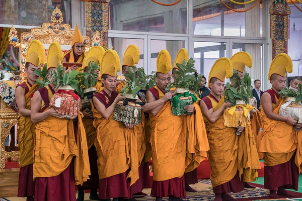 Monks from Namgyal Monastery holding ritual vases during the third and final day of the actual Kalachakra Empowerment in Bodhgaya, Bihar, India on January 13, 2017. Photo/Tenzin Choejor/OHHDL