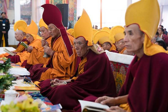 The former and current Gaden Tripa during the Long Life Offering Ceremony for His Holiness the Dalai Lama at the Kalachakra teaching ground in Bodhgaya, Bihar, India on January 14, 2017. Photo/Tenzin Choejor/OHHDL