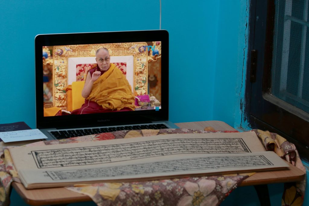 Live Webcast of Kalachakra Teachings on Tibet TV. Photo: Kalsang Jigme, In Frame