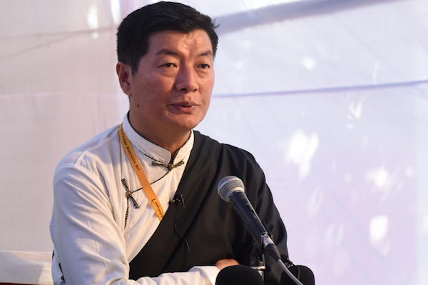 Sikyong Dr Lobsang Sangay addressing the press conference held at