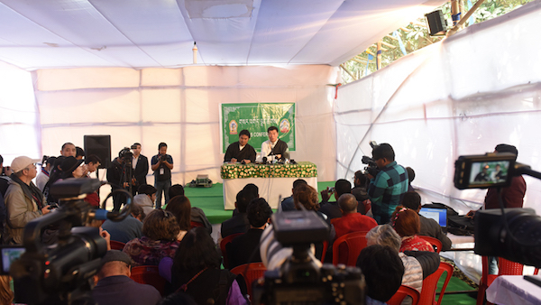 Sikyong Dr Lobsang Sangay addressing press conference at 34th Kalachakra, Bodh Gaya, 8 January 2017.