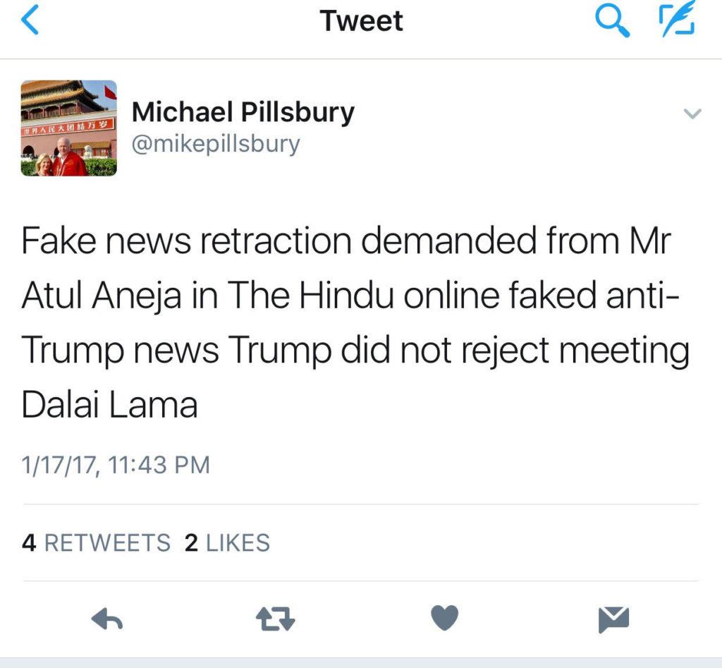 Pillsbury's tweet demanding retraction of the article