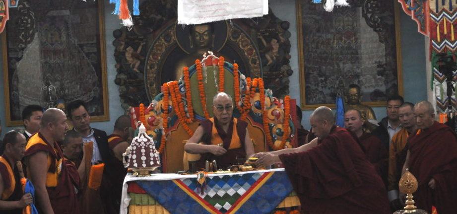 His Holiness the Dalai Lama presiding over the inaugural and consecration ceremony of the Baatsagan Temple, Bodh Gaya, 9 January 2017.