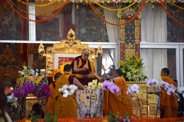 His Holiness the Dalai Lama preside over the torma, ritual cake offering ceremony to confer the 34th Kalachakra Initiation at Bodh Gaya, 11 January 2017.