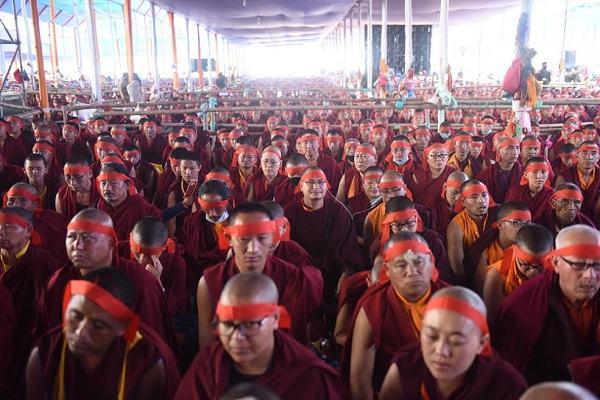 Thousands of devotees following the instructions of His Holiness the Dalai Lama as he confers the 34th Kalachakra Initiation, 11 January 2017.