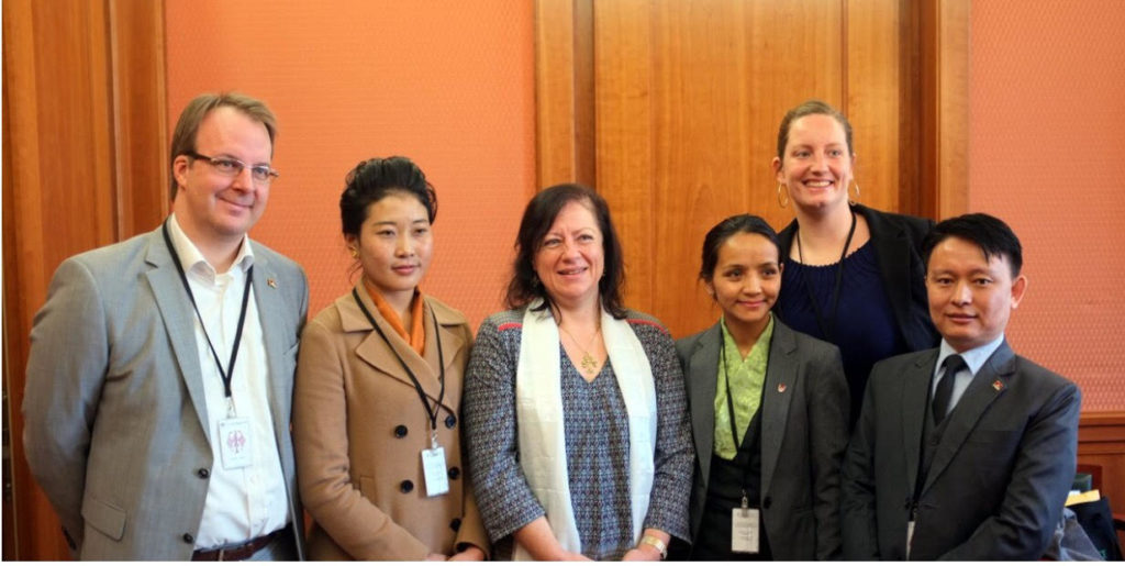 From left-Kai Muller, Executive Director, International Campaign for Tibet, Nyima Lhamo, Dr. Barbel Kofler, German Human Rights Commissioner, Kalden Tsomo, DIIR,Julia Kirchner, Tibet Initiative Duetschland, Dawa Tsultrim, OOT Geneva.