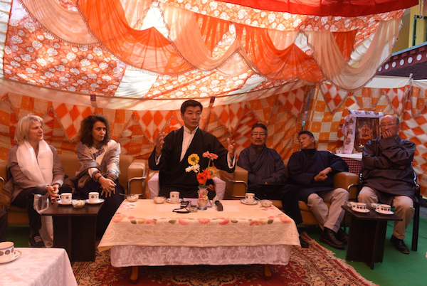 Sikyong Dr Lobsang Sangay speaking at the inauguration of the new Druzin Gatsel Apartments for the former Tibetan political prisoners at Mecleod Ganj, Dharamshala, 22 February 2017.