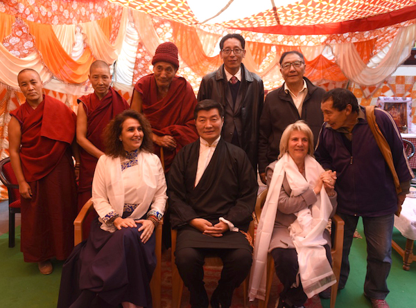 Sikyong Dr Lobsang Sangay with the new residents of Druzin Gatsel Apartments for the former Tibetan political prisoners at Mecleod Ganj, Dharamshala, 22 February 2017.