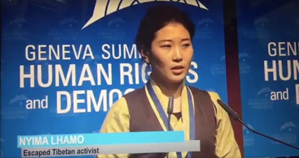 Nyima Lhamo speaking at the Geneva Summit.