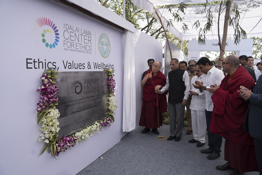 Governor of Telangana State Mr. Ekkadu Srinivasan Lakshmi Narasimhan and His Holiness the Dalai Lama unveiling the foundation stone for the South Asia Hub of The Dalai Lama Center for Ethics in Hyderabad, Telangana, India on February 12, 2017. Photo by Tenzin Choejor/OHHDL