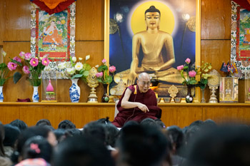 His Holiness the Dalai Lama speaking at his residence to delegates participating in the first Tibetan Women's Empowerment Conference in Dharamsala, HP, India on February 23, 2016. Photo by Tenzin Choejor/OHHDL
