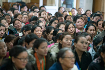 Delegates participating in the first Tibetan Women's Empowerment Conference listening to His Holiness the Dalai Lama at his residence in Dharamsala, HP, India on February 23, 2016. Photo by Tenzin Choejor/OHHDL
