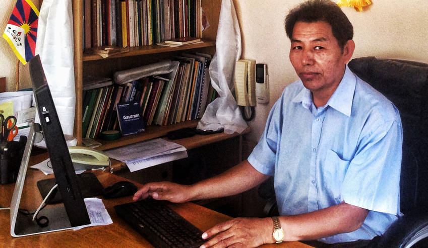 Tibet's new representative in South Africa, Ngodup Dorjee, works out of a tiny office in Centurion