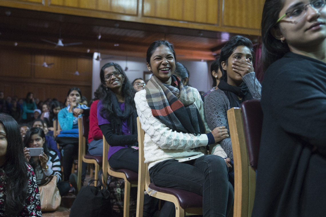 Members of audience listening to His Holiness the Dalai Lama's talk on 'Compassion, Mercy and Universal Responsibility' at Mary & Jesus College, New Delhi on 7 February 2017.