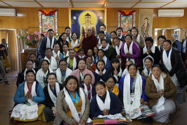 His Holiness the Dalai Lama with a group of participants of the first ever Tibetan Women's Empowerment Conference on 23 February 2017. Photo/Tenzin Choejor/OHHDL