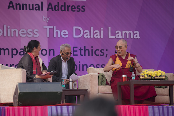 His Holiness the Dalai Lama speaking at the Itihaas inaugural talk on Compassion and Ethics: Source of Happiness at Convent of Jesus and Mary, New Delhi on 6 February 2017.