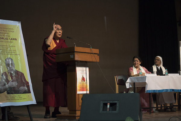 His Holiness the Dalai Lama addressing over 2000 students at Jesus & Mary College on 'Compassion, Mercy and Universal Responsiblity' on 7 February 2017.