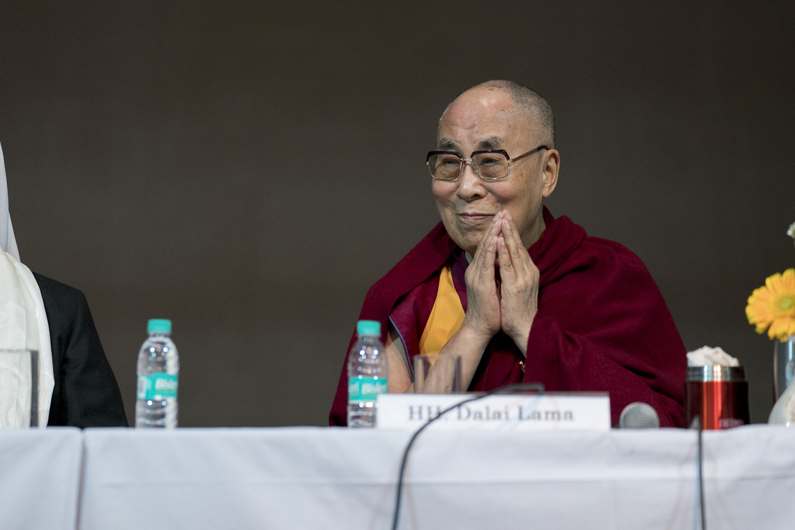 His Holiness the Dalai Lama greeting the college students who had gathered to listen to His Holiness' talk on 'Compassion, Mercy and Universal Responsibility' at Jesus & Mary College on 7 February 2017.