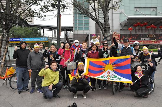 with Tibetan national flag.