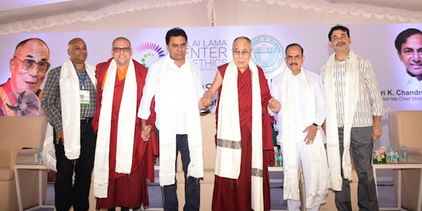 Director of the Center Tenzin Priyadarshini, IT Minister Shri K T Rama Rao, His Holiness the Dalai Lama and the Deputy Chief Minister of Telangana Shri M Mahmood Ali at the HITEX Open Arena, 12 February 2017.