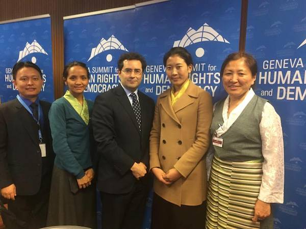 Dawa Tsultrim, Office of Tibet, Kalden Tsomo, DIIR, Mr. Hillel Neuer, Executive Director of UN Watch, Nyima Lhamo neice of Tenzin Delek Rinpche Mrs. Pema, Vice President of Swiss Tibetan Women Association