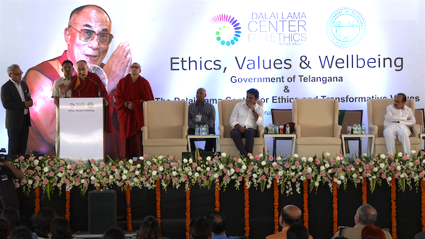 His Holiness the Dalai Lama addressing on Ethics, Values and Wellbeing at the Foundation Stone Laying Ceremony of the New South Asia Hub of the Dalai Lama's Center for Ethics and Transformative Values at the HITEX Open Arena, Hyderabad on 12 February 2017.
