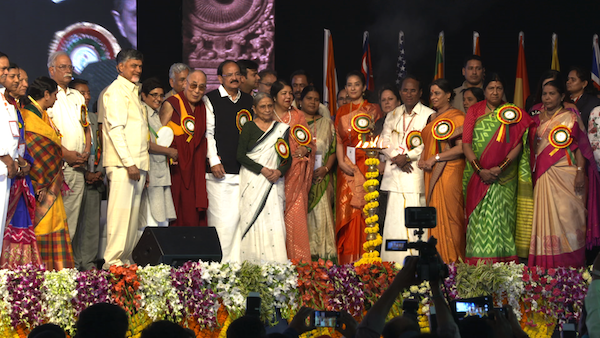 His Holiness the Dalai Lama along with Chief Minister and dignitaries at the National Women's Parliament