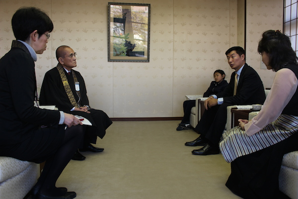 Sikyong Dr Lobsang Sangay's meeting with Hongwanji Temple's Governor General Chiko Iwagami on 16 February 2017.